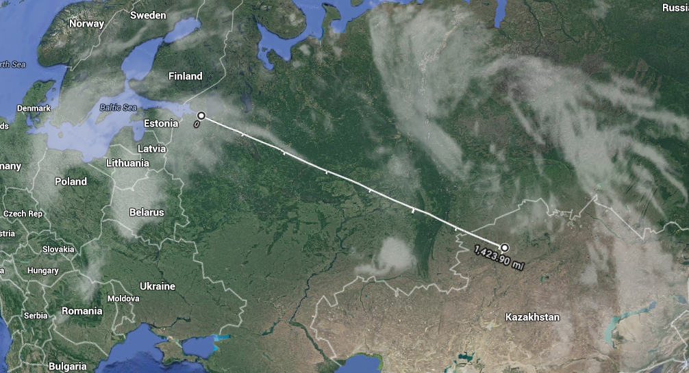 St Petersburg to Astana 2291 km. Distance yet to go.