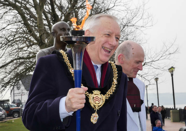 cardiff mayor and torch-1190933