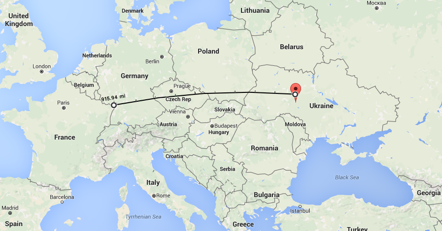 919 miles the distance from Vinnitsa to the French Border