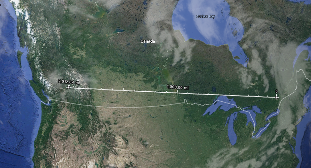 2012 miles the distance between Ottawa and deep into British Columbia
